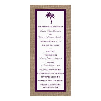 Palm Tree Burlap Beach Wedding   Choose Your Color Rack Card