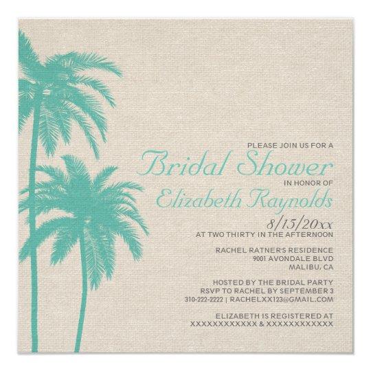Palm Tree Burlap Bridal Shower Invitations