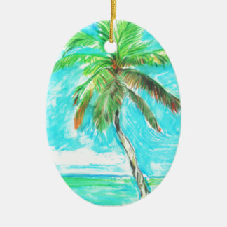 Palm Tree Ceramic Oval Decoration