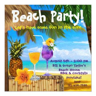 Palm Tree Cocktails Adult Beach Party 13 Cm X 13 Cm Square Invitation Card
