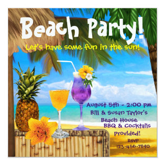 Palm Tree Cocktails Adult Beach Party 13 Cm X 13 Cm Square Invitation Card