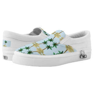 Palm Tree Coconut Tropical Beach Slip On Sneaker Printed Shoes