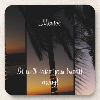 Palm Tree Collage; Mexico Souvenir Coaster