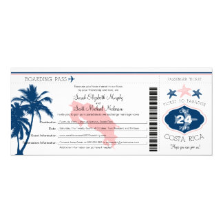 Palm Tree Costa Rica Boarding Pass Wedding 10 Cm X 24 Cm Invitation Card