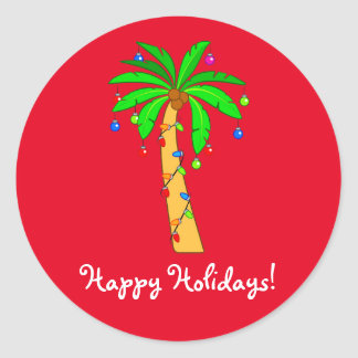 Palm Tree Decorated for Christmas Round Sticker