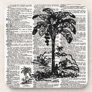 Palm Tree Dictionary Art Beverage Coasters