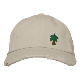Palm Tree Distressed Cap Embroidered Baseball Cap