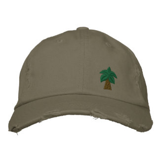 Palm Tree Distressed Cap Embroidered Hat