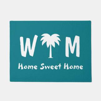 Palm tree door mat for tropical beach home