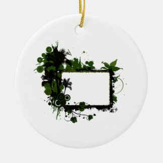 Palm tree frame green and black.png round ceramic decoration