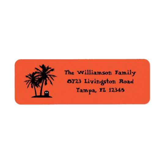Palm Tree Halloween Return Address Labels