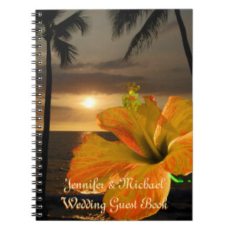 Palm Tree Hibiscus Tropical Wedding Guest Book Notebooks