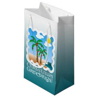 Palm Tree Holiday Lights Beach Christmas Small Gift Bag
