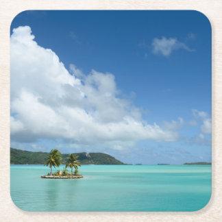 Palm tree in Bora Bora lagoon coaster Square Paper Coaster