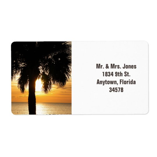 Palm tree in Florida sunset address label. Shipping Label