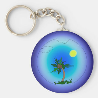Palm tree in the sea basic round button key ring