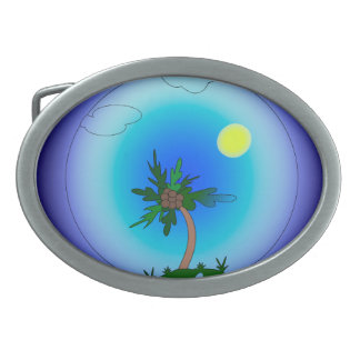 Palm tree in the sea. Sun is shining. Belt Buckle