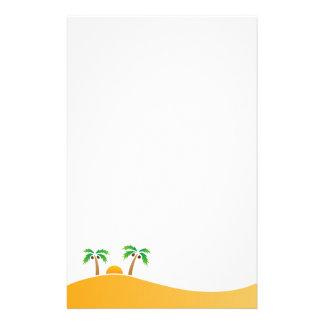 Palm tree island or desert sunrise stationery