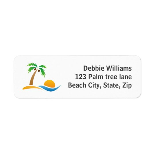 Palm tree island sunrise return address labels