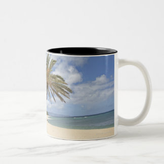 Palm tree leaning out over the sand at Sunset Two-Tone Coffee Mug