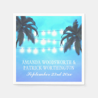 Palm Tree Lights Watercolor Sky Wedding Napkins Paper Napkin