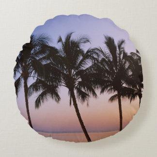 Palm tree, morning round cushion