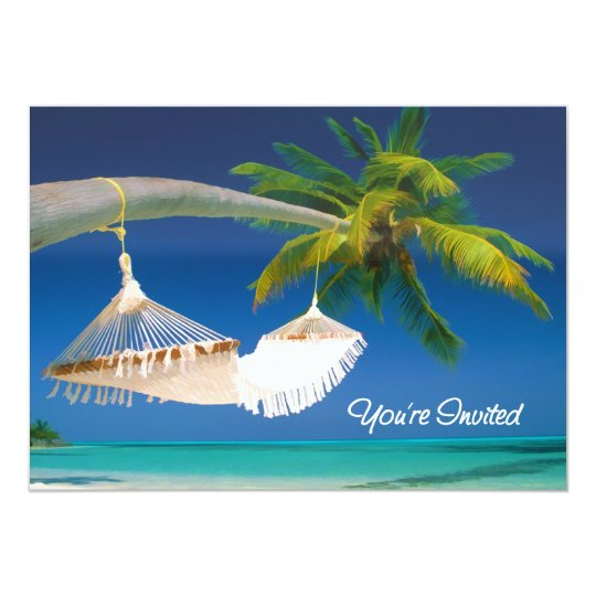 Palm Tree, Ocean & Hammock You're Invited Card