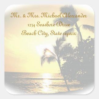 Palm Tree Ocean Sunset Return Address Square Sticker