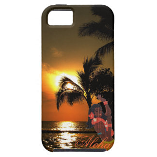 Palm Tree Ocean Sunset with Grass Skirt Hula Girl iPhone 5 Cover