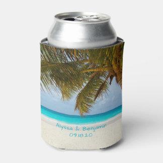 Palm Tree Ocean View Custom Wedding Coozie