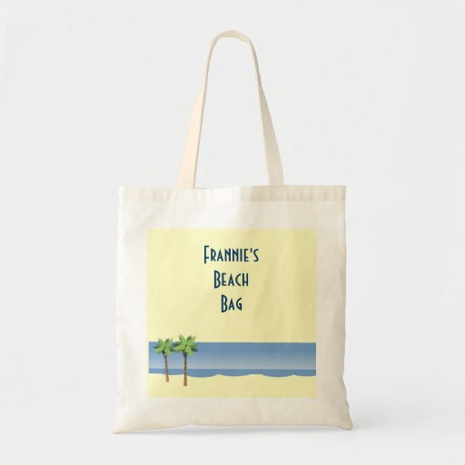 Palm Tree Ocean Waves Beach Scene Custom Name Canvas Bags