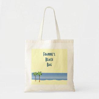 Palm Tree Ocean Waves Beach Scene Custom Name Budget Tote Bag