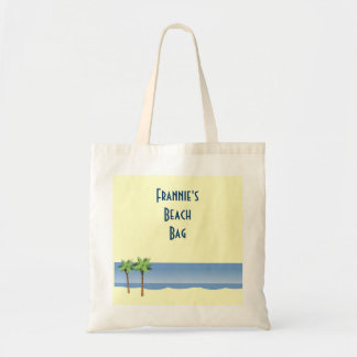 Palm Tree Ocean Waves Beach Scene Custom Name Tote Bag