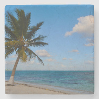 Palm Tree on a Beach Stone Coaster