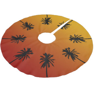 Palm Tree Orange Sunset Tropical Christmas Tree Brushed Polyester Tree Skirt