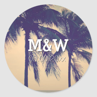 Palm tree photo beach destination wedding stickers