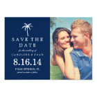 Palm Tree Photo Wedding Save the Date {navy blue} Card