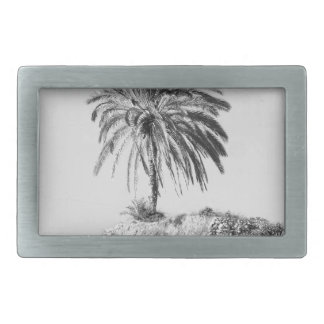 Palm tree rectangular belt buckle
