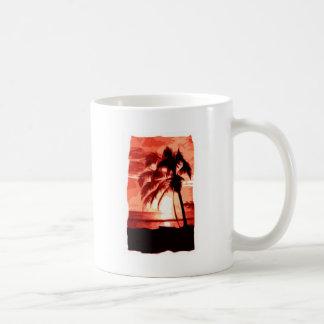 Palm Tree & Red Sunset Basic White Mug