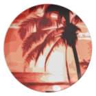 Palm Tree & Red Sunset Plate