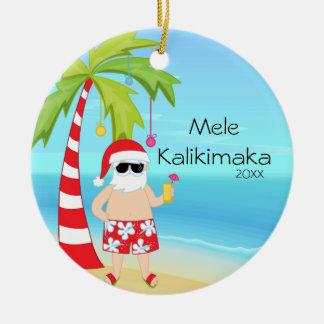 Palm Tree Relaxing Santa Hawaiian Christmas Christmas Ornament
