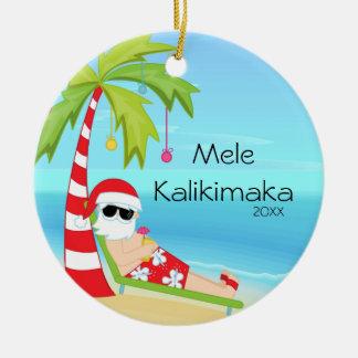 Palm Tree Relaxing Santa Hawaiian Christmas Round Ceramic Decoration