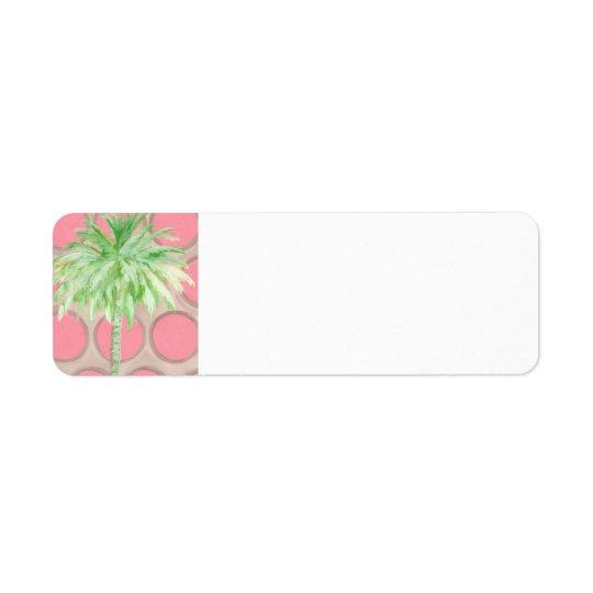 Palm Tree Return Address - Pretty Pink Polka Dots