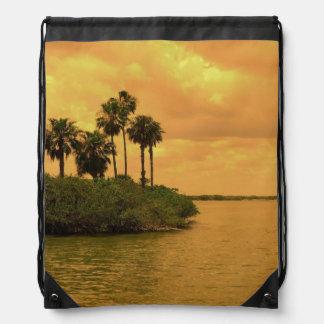 Palm Tree Reverie Drawstring Backpacks