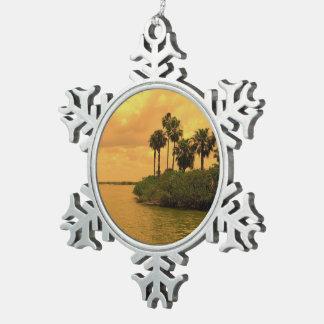 Palm Tree Reverie Snowflake Pewter Christmas Ornament