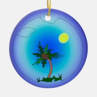 palm tree round ceramic decoration
