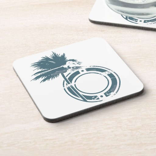 Palm Tree Rubber stamp Beverage Coaster