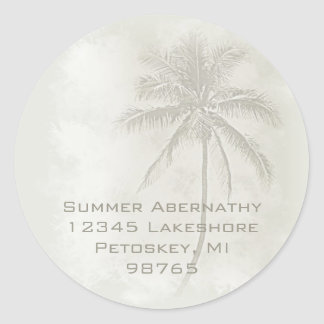 Palm Tree (Sand) Classic Round Sticker