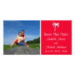 Palm Tree Save The Date Photocard (Red) Custom Photo Card