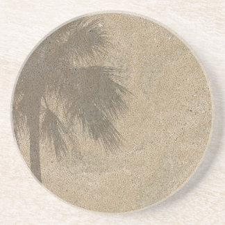 Palm Tree Shadow on Beach Sand Background - Palms Coaster